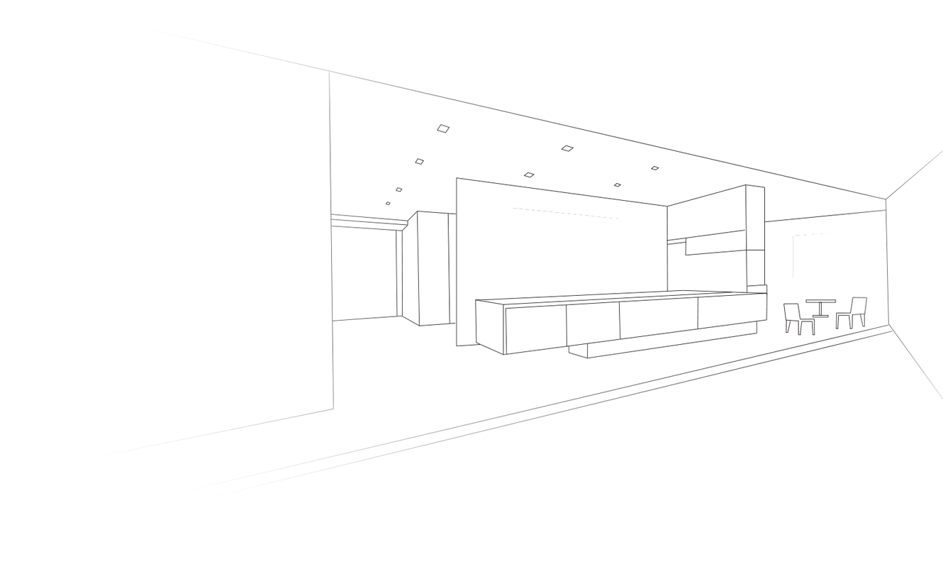 Line drawing of office space